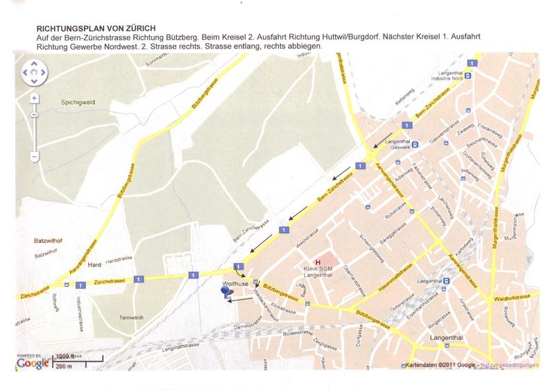 Anfahrtsplan von Zürich